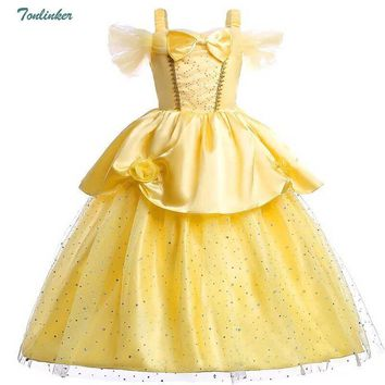 Cool Girls Cosplay Belle Halloween Christmas Costumes Off Shoulder Dress up Deluxe Ball Gown Dresses 2-8 yr Kids Party Dress vestidoAT_93_12