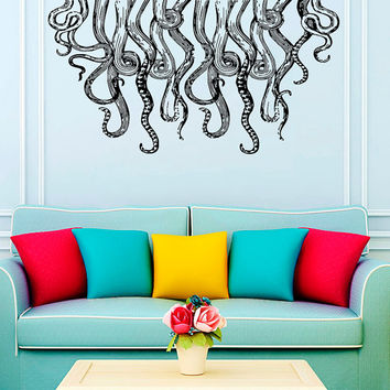 Wall Decal Vinyl Sticker Decals Art Home Decor Design Murals Octopus Tentacles Poulpe Delfish Fish Deep Sea Ocean Bedroom Bathroom AN647