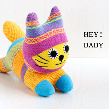 Stuffed Cat Stuffed Animal Cute Plush Toy Cat Kawaii Plushie Buddy the yellow boho  Cuddly Snuggly SOCK Kitty Cat  (F) 4#