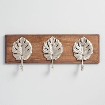 Silver Leaf 3 Hook Wall Rack