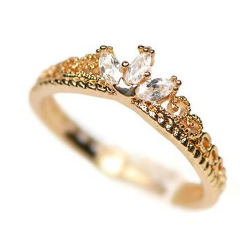 ac spbest Yellow Gold Dainty Princess Crown Ring