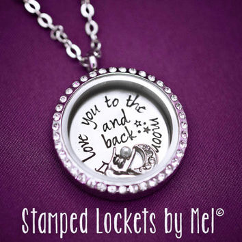 I Love You to the Moon and Back - Hand Stamped Stainless Steel Necklace - Floating Glass Memory Locket - Mommy Jewelry - Mother Grandma Kid