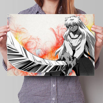 Inuyasha Anime Manga Watercolor Poster Print Art Wall Decor Gift  no427