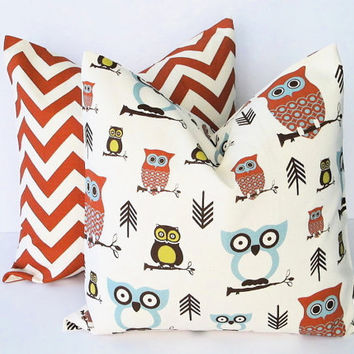 Handmade Pillow Covers 20 x 20 inches owl CHEVRON Throw Pillows Spa Blue, Rust, Brown TWO 20 inch Accent Pillows