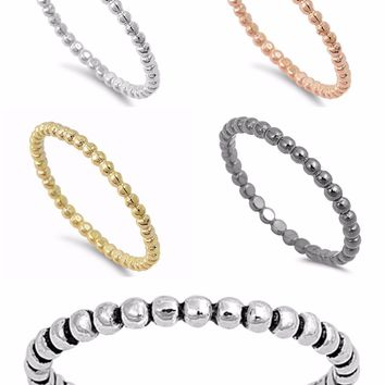Sterling Silver 925 STACKABLE ETERNITY ROUND BEADS DESIGN RINGS 2MM SIZES 2-10