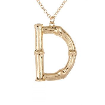 CAST METAL BAMBOO Letter  NECKLACE