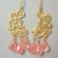 Cherry Quartz Chandelier Earrings, Pink Earrings, Bridesmaids Jewelry, Bridal Jewelry