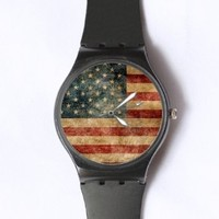 Custom Vintage American Flag Watches Classic Black Plastic Watch WT-0766