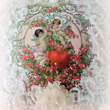 Cherubs with Heart  Crystal Roses Victorian Pillow