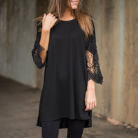 Lace Sleeve No Trace Top, Black