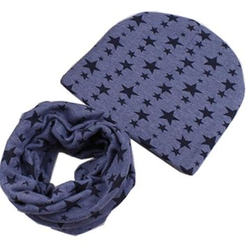 new star anchor army cotton children beanie scarf set boys girls spring autumn wear warm caps collars kid saccessory hats