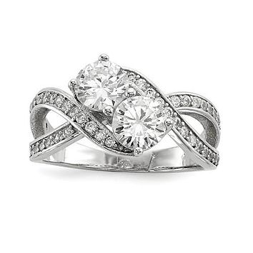 Sterling Silver CZ Two Stone Crossed Band Promise Ring