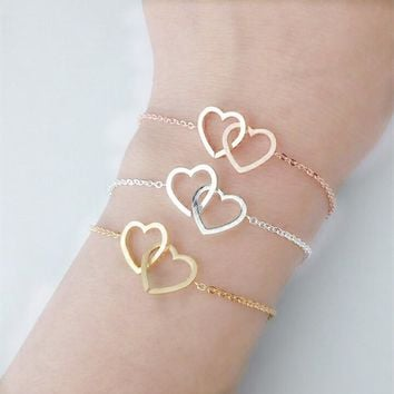 GORGEOUS TALE Silver Gold Filled Double Heart Charm Bracelet for Women Boho Jewelry Stainless Steel Chain Pulseras Wedding Gift