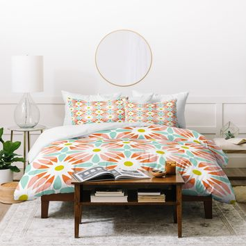 Heather Dutton Crazy Daisy Sorbet Duvet Cover