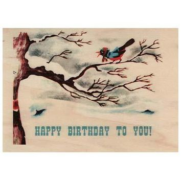 Birthday Wood Card Birdy To You