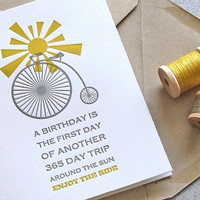 Bike Bicycle Happy Birthday Letterpress Greeting Card Set Sunshine Mustard Yellow Grey Gray 3 pack (GBD04)