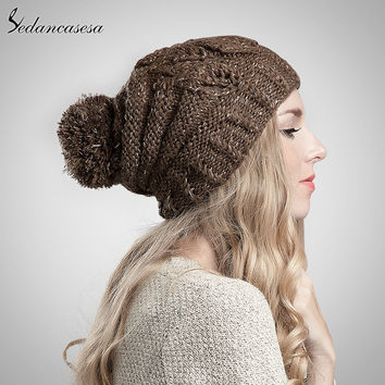 Sedancasesa Keep Warm Classic Tight Knitted Hat Winter Women Cap Pompoms Beanie Winter Hats with Casquette De Marque AA130210B