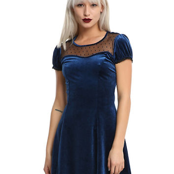 Blue Velvet Swiss Dot Yoke Dress