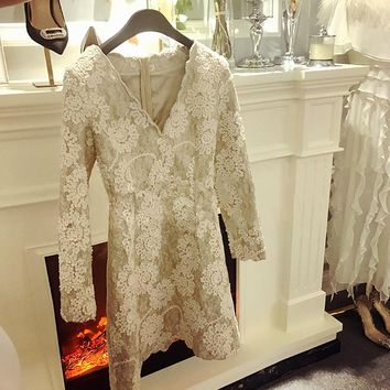 KENVY High-end luxury fashion brand women's long-sleeved sequined three-dimensional floral tide  V-neck lace dress