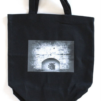 "Photo Canvas Tote Bag of ""Paris Graffiti""  Market Tote, Reusable Grocery Bag,  Photo Black Canvas Tote Bag"