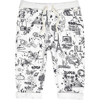River Island Mini boys light grey doodle print jogger