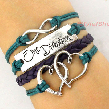 One direction bracelet,Infinity bracelet,Double heart bracelet,charm bracelet,bridesmaid bracelet,friendship christmas bracelet