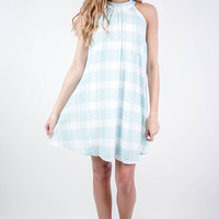 Mint Checkered High Neck Shift Dress