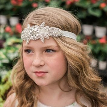 Coralee White Crystal Jewel Headband