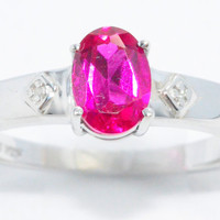 1.5 Carat Ruby Oval Diamond Ring .925 Sterling Silver Rhodium Finish White Gold Quality