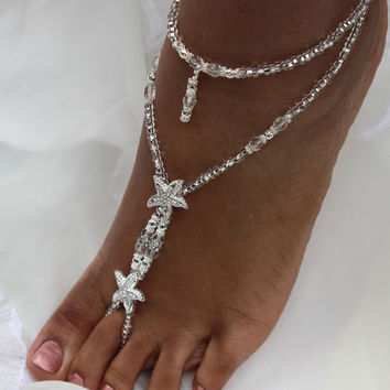 87542cfe861 Crystal Footless Sandles Barefoot Sandals Foot Jewelry Starfish Wedding  Jewelry Bridesmaids Jewelry -- ONE PAIR