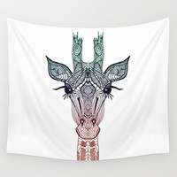 GiRAFFE Wall Tapestry by Monika Strigel