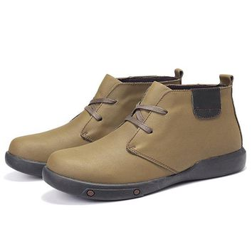 Men Genuine Leather Plush Lining Ankle Boots