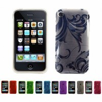 WHITE Apple iPhone 3G 3Gs 8GB 16GB 32GB FLORAL Transparent Jelly Silicone Skin Case Cover + Free Screen Protector (Many Colors Available)