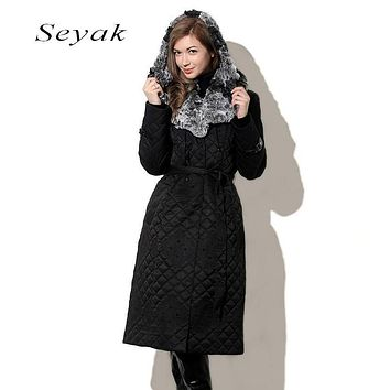 Warm Coat For Women seyak new Winter 2017 High Quality Female Warm Parka Large Weaving Rex Rabbit Hat and collar M-4XL