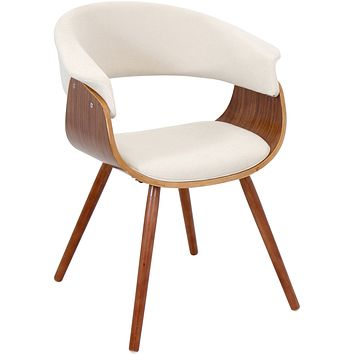 Vintage Mod Accent Chair, Walnut/Cream