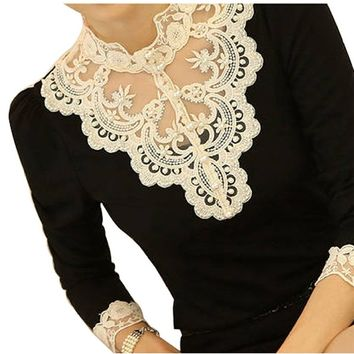 VOBAGA Women's Lace Spliced Shirt Long Sleeve Stand Collar Tops Blouse Black Xl