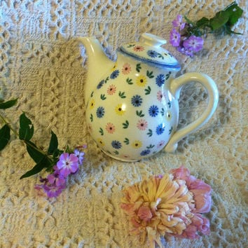 Floral Ceramic Teapot German Vintage White Porcelain Lidded Pot With Pink Blue Yellow Flowers Country Cottage Chic Style Flowered Teapot