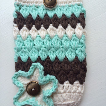 Smartphone iPhone case hand crocheted original design 100%cotton yarn holiday birthday Easter Mother's Day gift attractive design