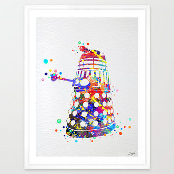 Dalek from Dr Who Watercolor Art Print,Wall Art Hanging,Home Decor,Nursery/Kids Art,Fine Art Print,Motivational,Inspirational, #165