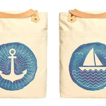 Watercolor Nautical Icon Print 100% Cotton Canvas Leather Straps Backpack WAS_34