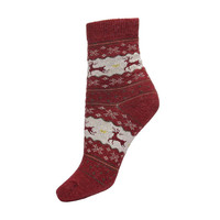 Red Ankle Socks with Little Deer Print