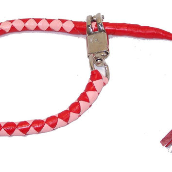 Motorcycle Get Back Whip Pink and Red with Hook to the Belt Loop and Lever PRW959