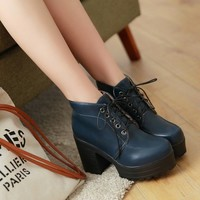 Buy Shoes Galore Platform Block Heel Ankle Boots   YesStyle