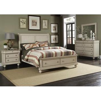 Liberty Furniture Rustic Traditions Storage Bed & Dresser & Mirror & Chest in Rustic White Finish