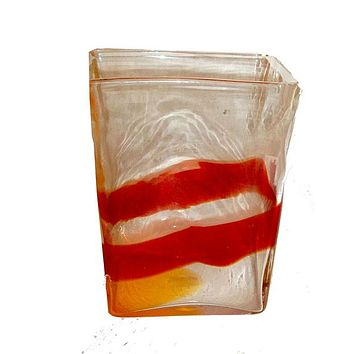Thick Glass Vase Orange/Red...RESERVED