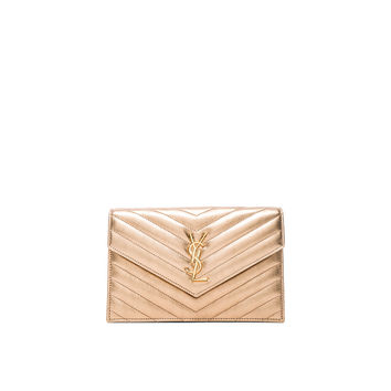 Saint Laurent Monogram Quilted Envelope Chain Wallet in Light Blush & Black | FWRD