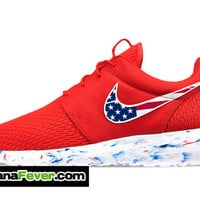 "Nike ""Distressed American Flag"" Roshe Run Men's Challenge Red/White Swoosh + FREE SHIPPING - by Bandana Fever"