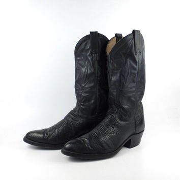 Vintage Cowboy Boots 1980s Dan Post Black Leather Men's  size 9 D