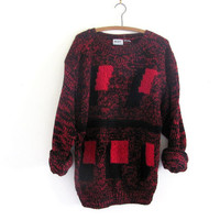 STOREWIDE SALE... Vintage red and black speckled oversized sweater // long chunky knit sweater // size L