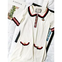 GUCCI Fashion New Embroidery Bee Short Sleeve Dress White
